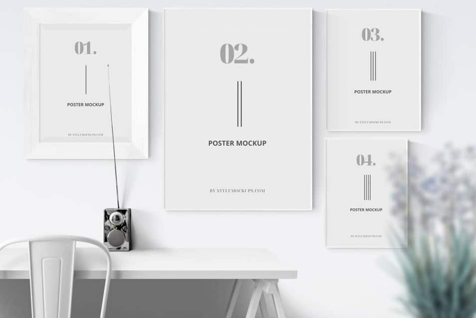 Free 4 Posters with Shadow Mockup