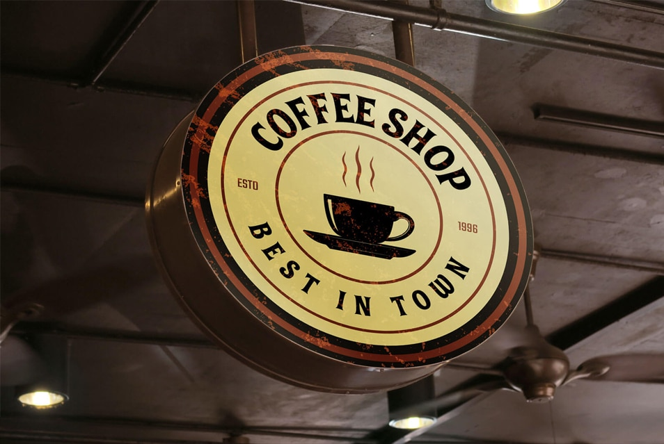 Free Cafe Round Signboard Mockup PSD