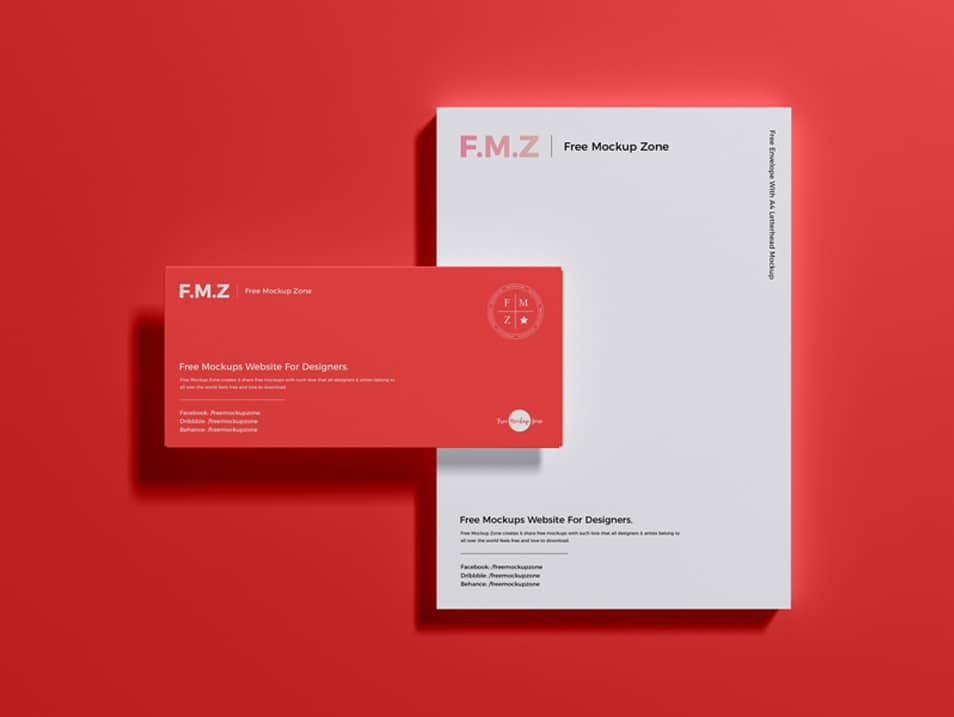 Free Envelope With A4 Letterhead Mockup PSD