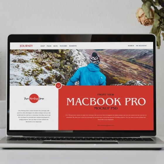 Free Front View MacBook Pro Mockup PSD