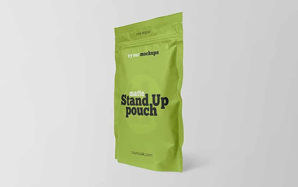 Free Matte Stand-Up Pouch Mockup
