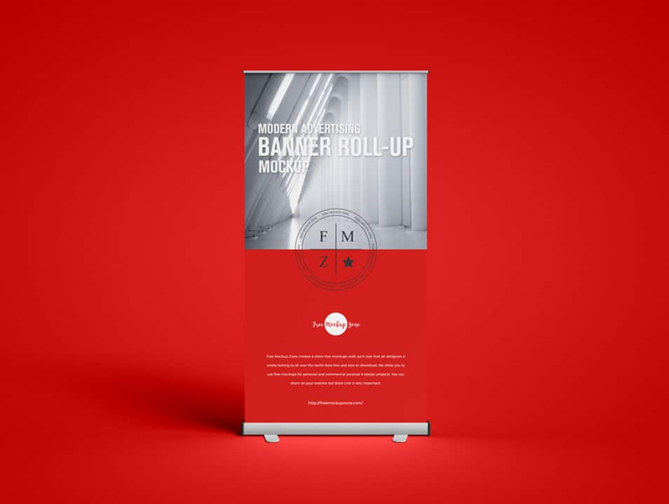 Free Modern Advertising Banner Roll-up Mockup