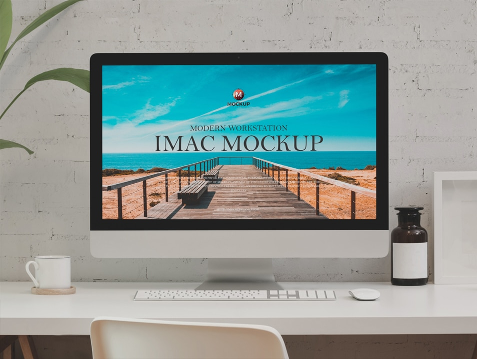 Free Modern Workstation iMac Mockup Design