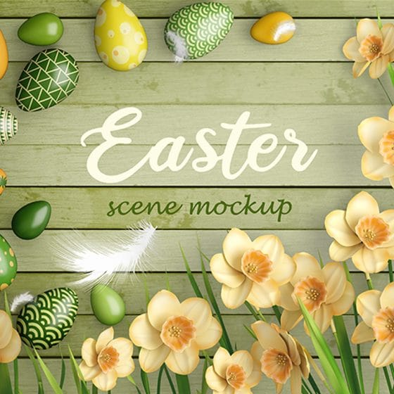 Free PSD Easter Scene Mockup Templates