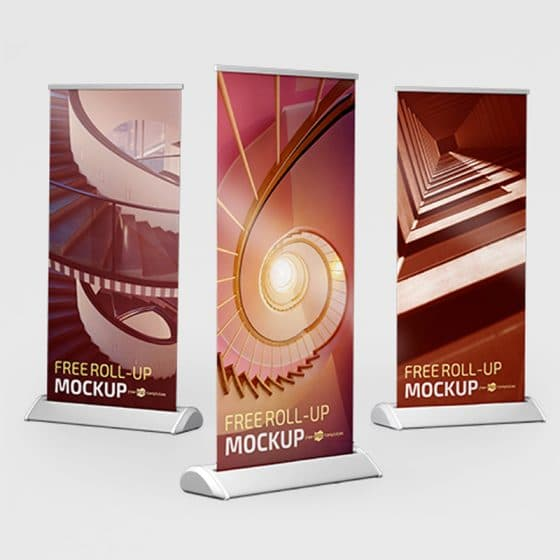 Free PSD Roll-up Mockup Template