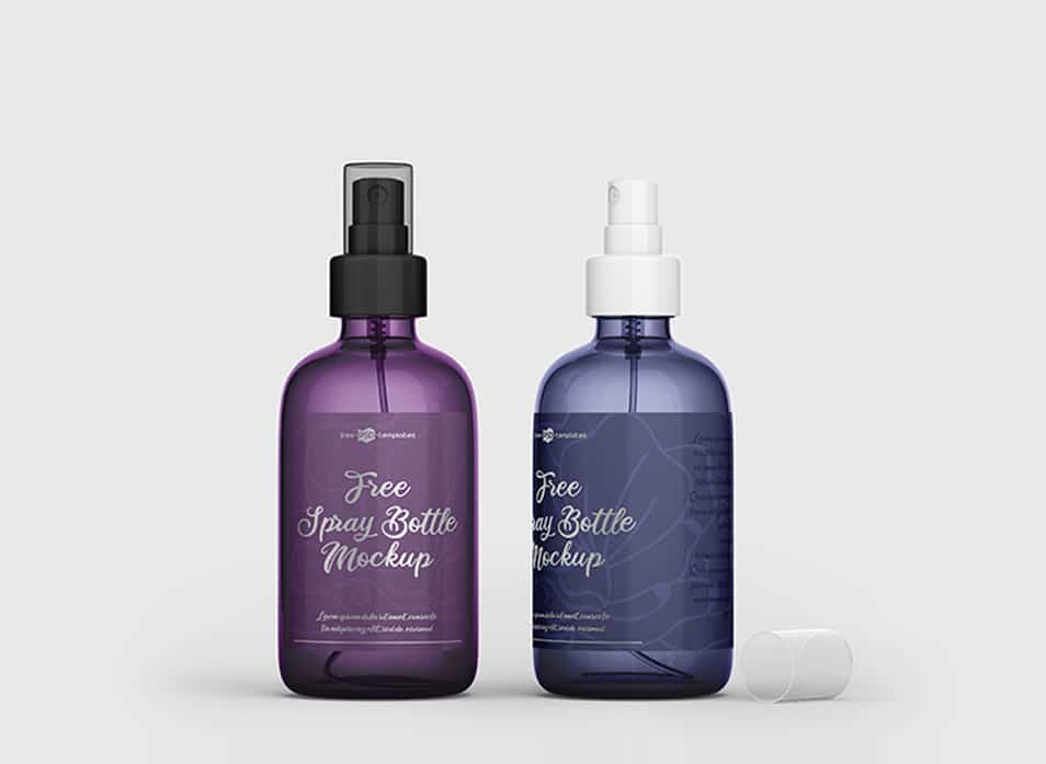 Free PSD Spray Bottle Mockup Template