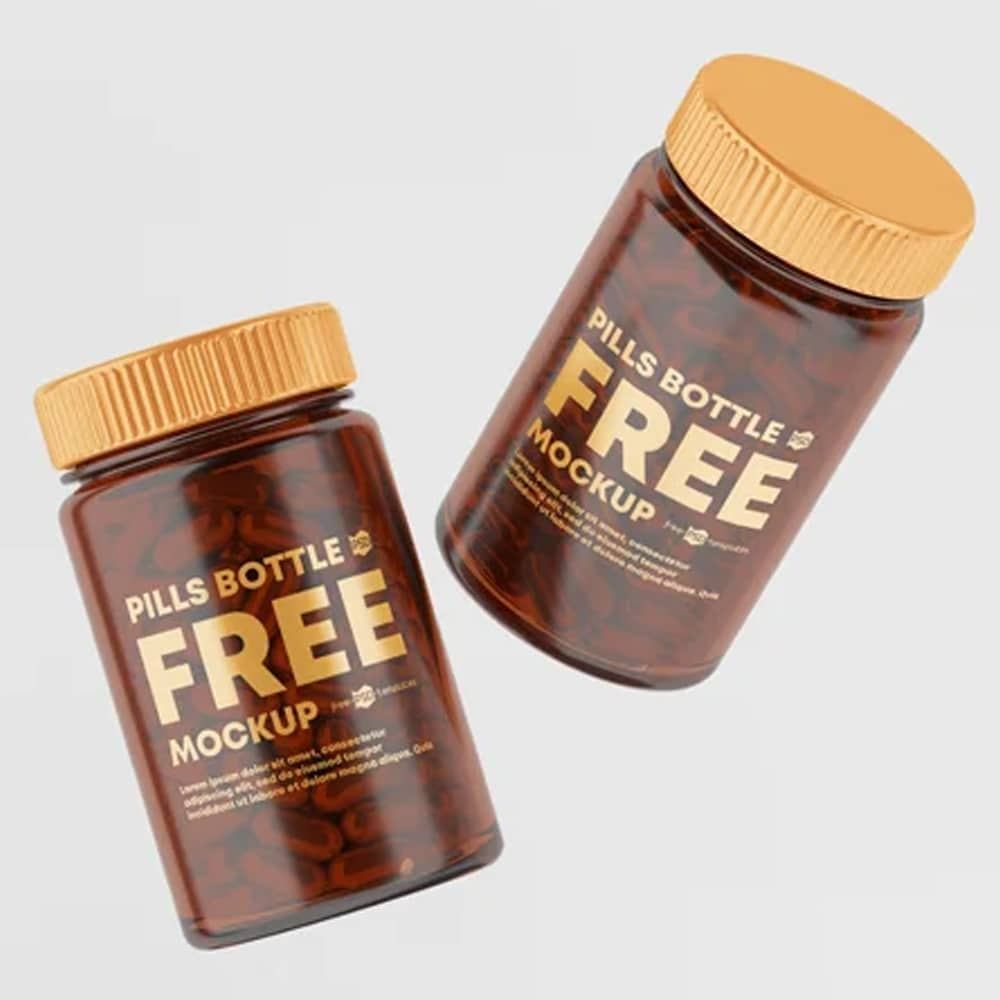 Free Pill Bottle Mockup Set Template