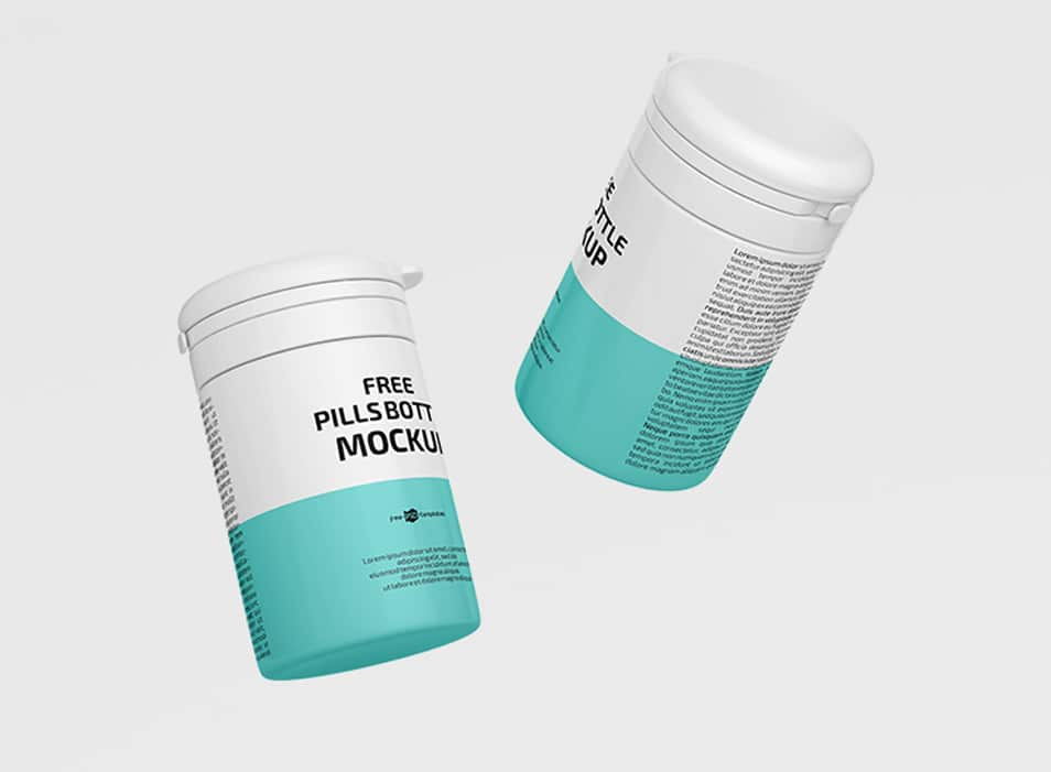 Free Pills Bottle Mockup in PSD