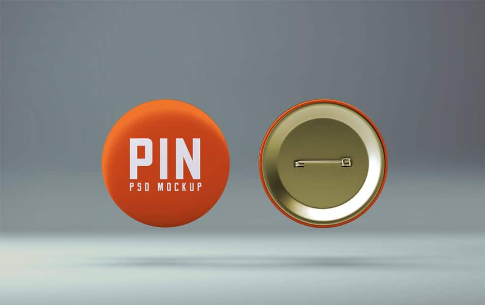 Free Pin Badge Button Mockup PSD