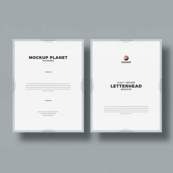 Free Top View Letter Size Letterhead Mockup Design