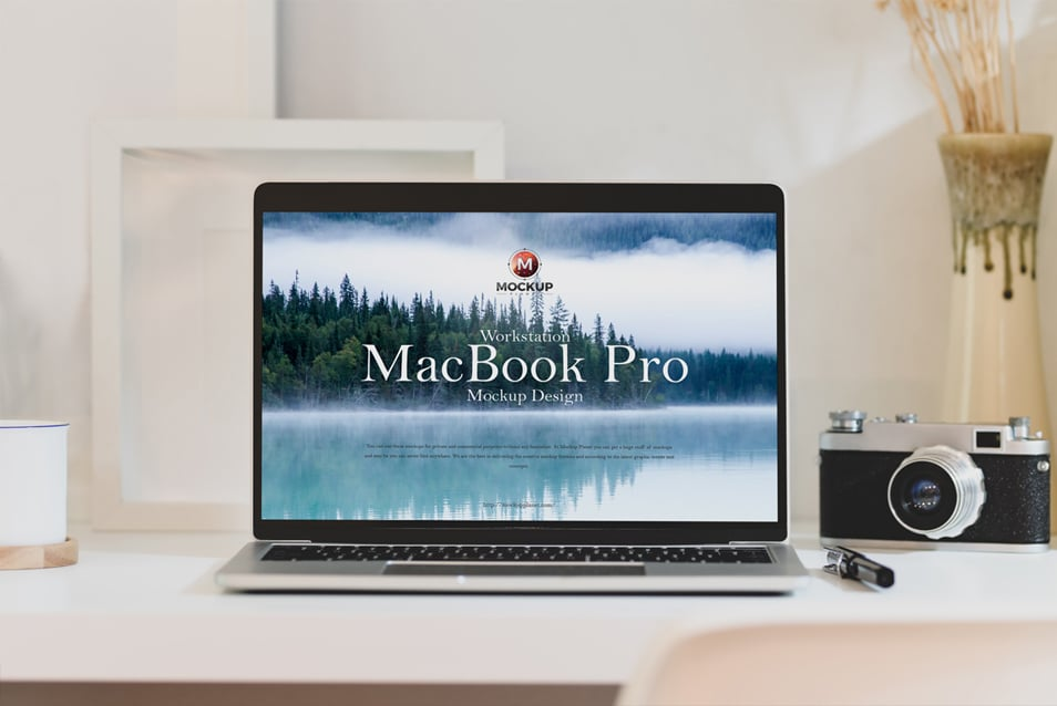 Free Workstation MacBook Pro Mockup Design