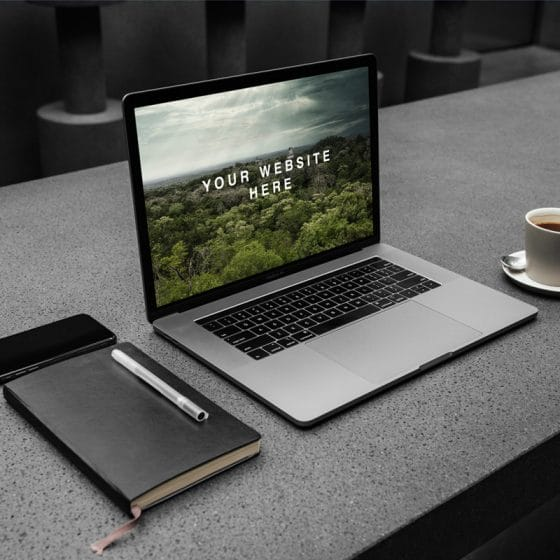 MacBook Pro Workspace PSD Mockup
