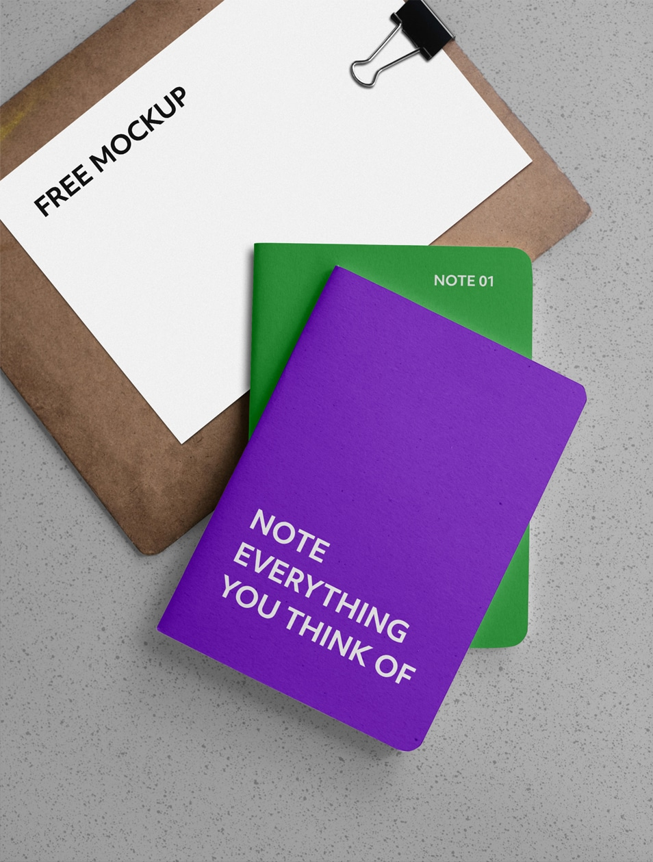 Notebooks with Clipboard Mockup