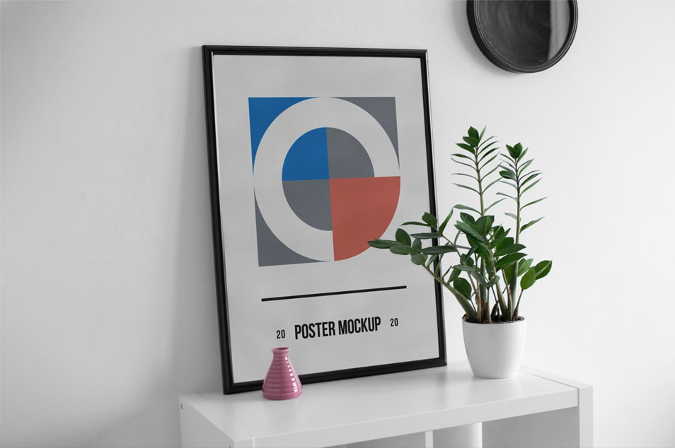 Poster on Desk PSD Mockup