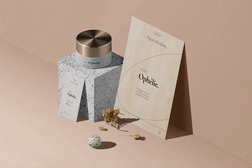 Set Of Bottle And Paper For Branding Cosmetics Mockup Isometric