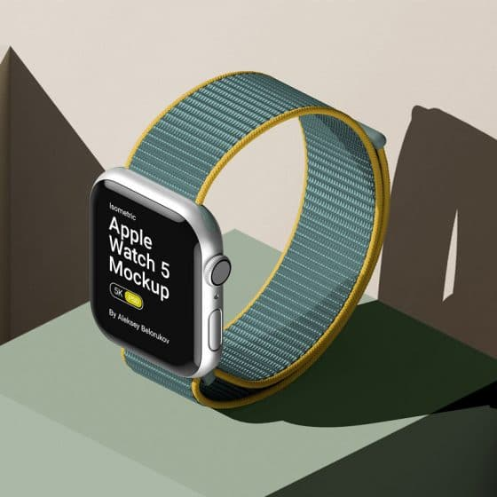 Stylish Scene With Iwatch 5 Mockup Isometric