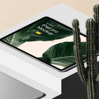iPad Pro With Cactus Mockup