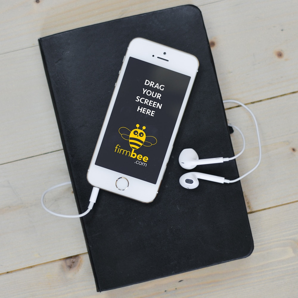 Apple iPhone 5 with Headphones PSD Mockup