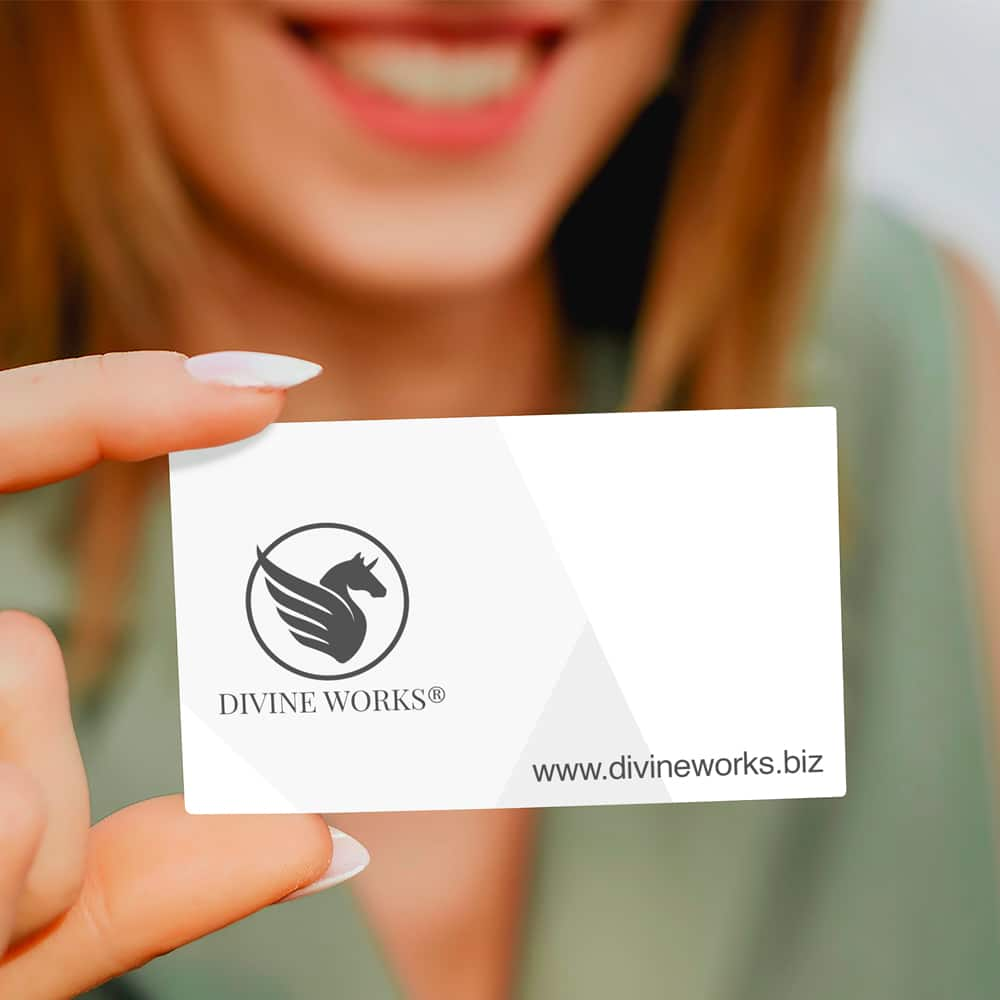 Business Card In Woman's Hand Mockup
