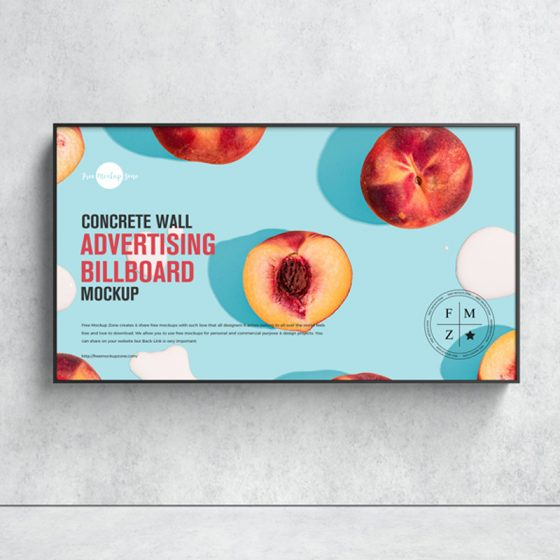 Free Concrete Wall Advertising Billboard Mockup