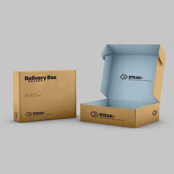 Free Delivery Shipping Box Mockup PSD