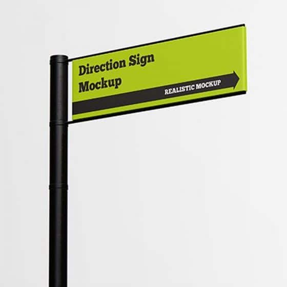 Free Direction Sign Mockup