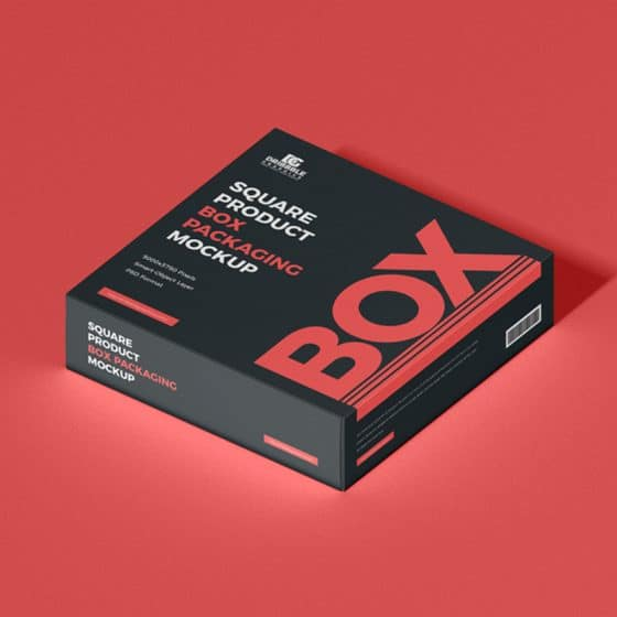 Free Square Product Box Packaging Mockup