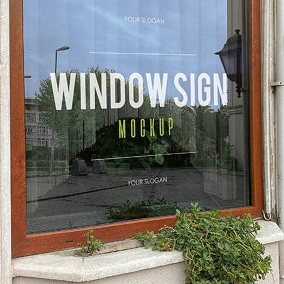 Free Window Sign in a Restaurant Mockups