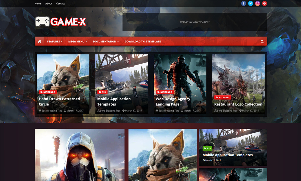 Game X Responsive Blogger Template