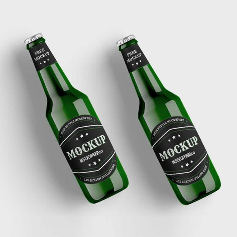 Green Beer Bottle Free PSD Mockups