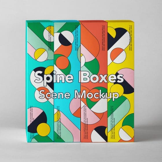 Spine PSD Boxes Packaging Mockup Set