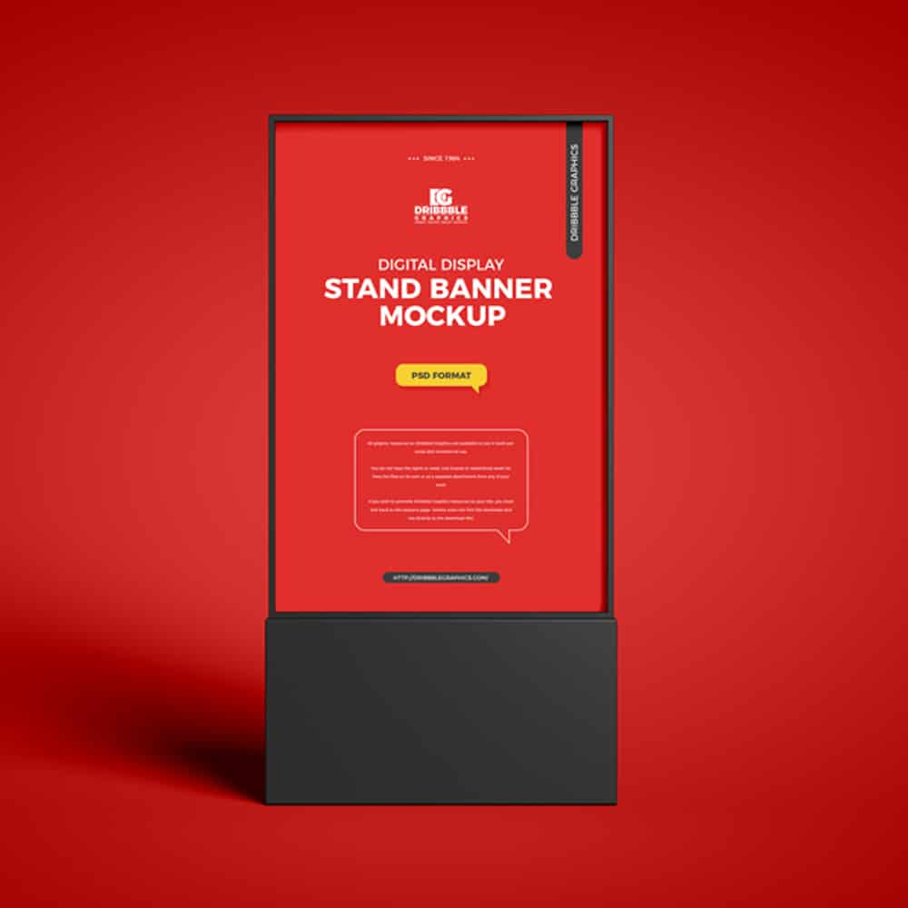 Free Digital Display Stand Banner Mockup