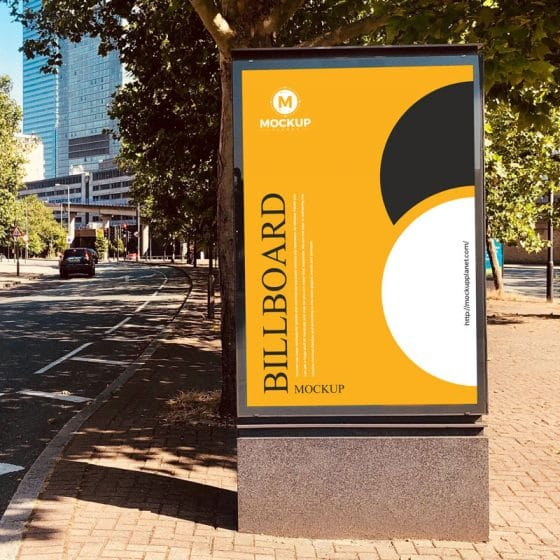 Free Outdoor Advertising Road Side Billboard Mockup Design