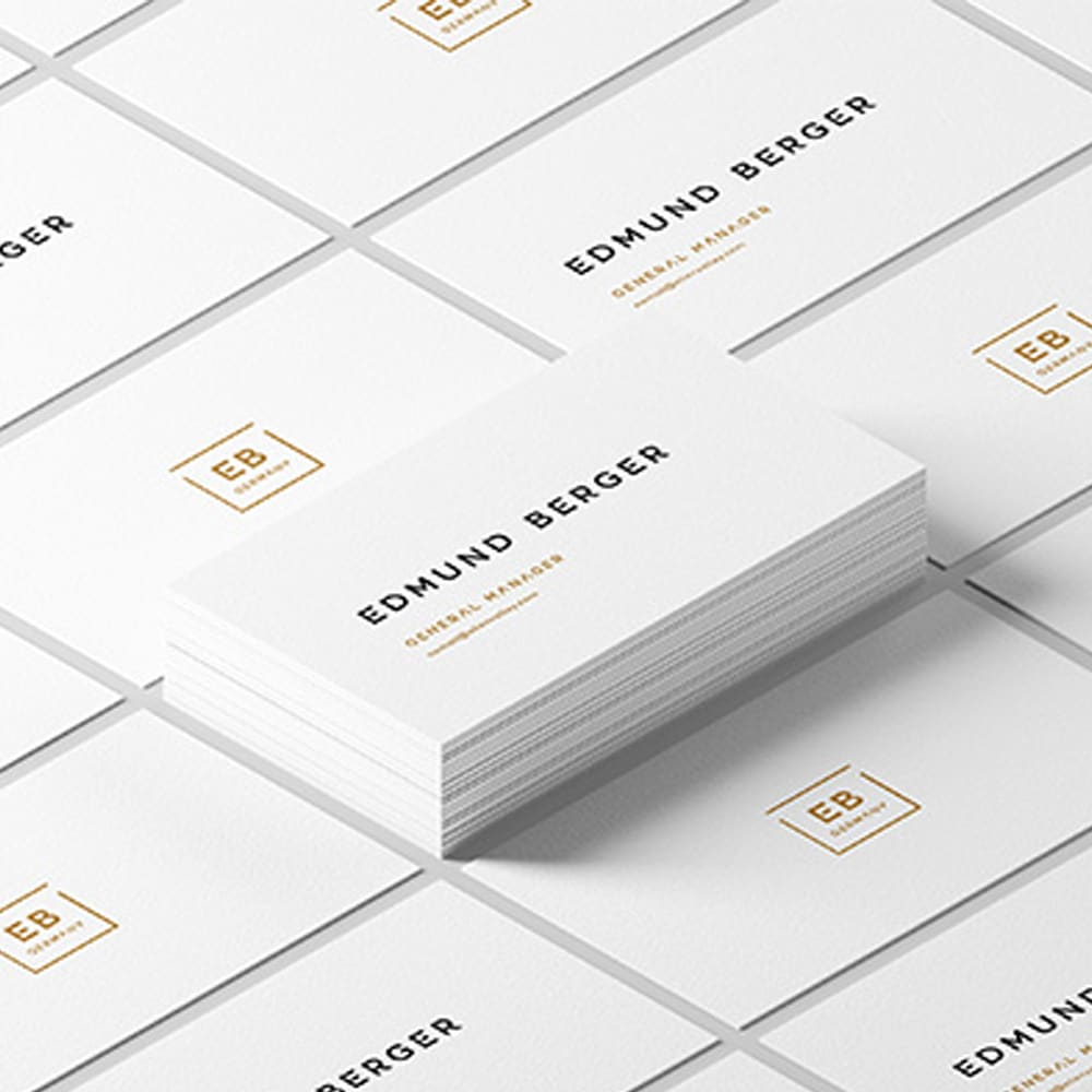 White Isometric Business Card Mockup
