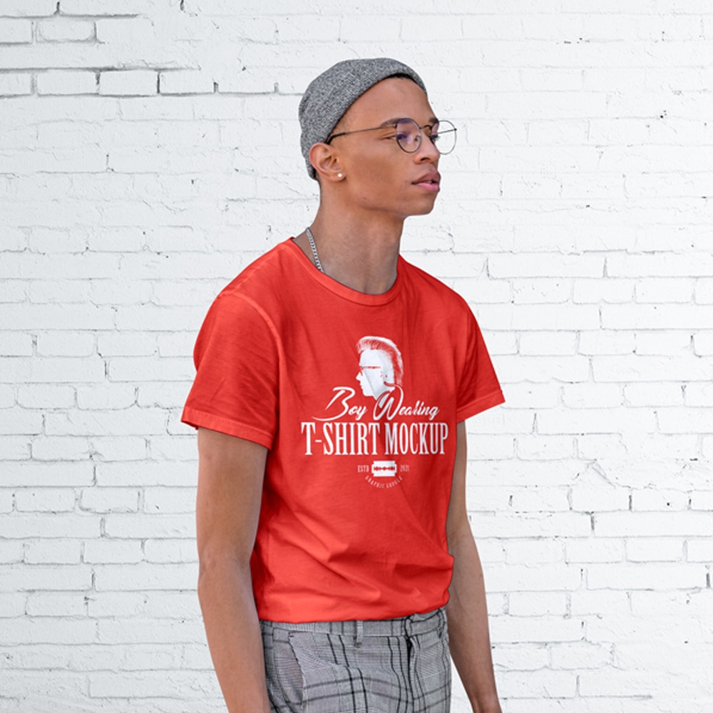 Free Boy Wearing T-Shirt Mockup