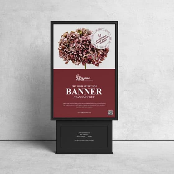 Free Citylight Advertising Stand Banner Mockup