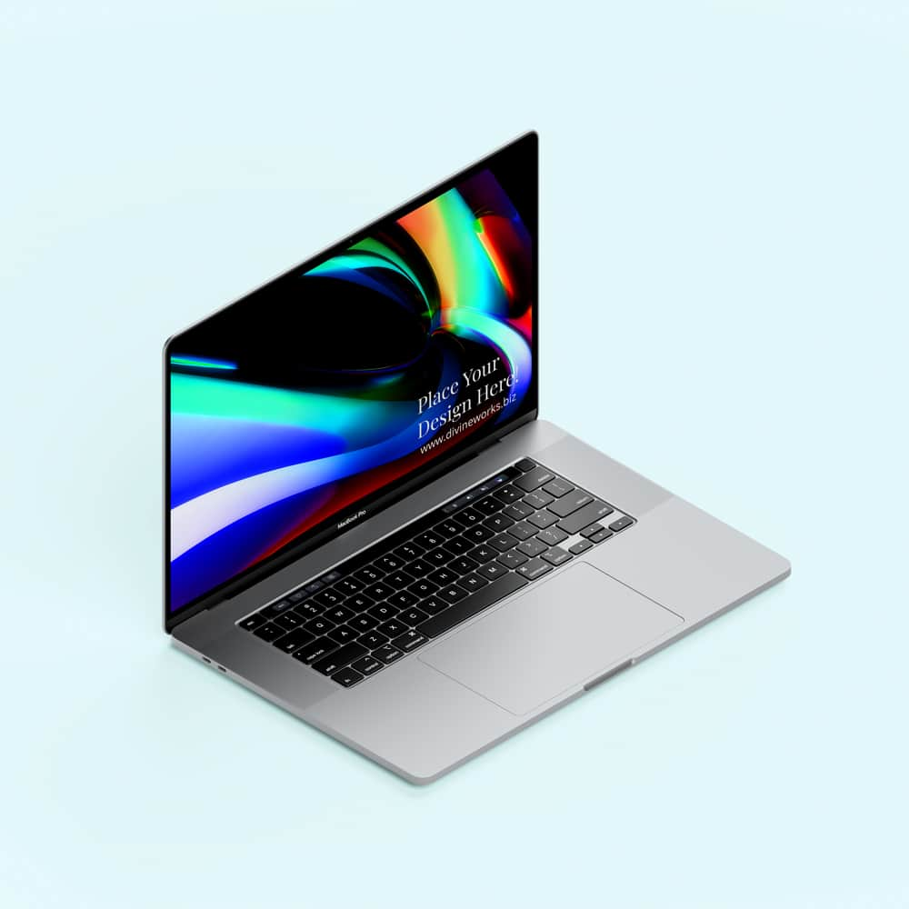 Free Isometric Macbook Pro 16 Inch Mockup PSD