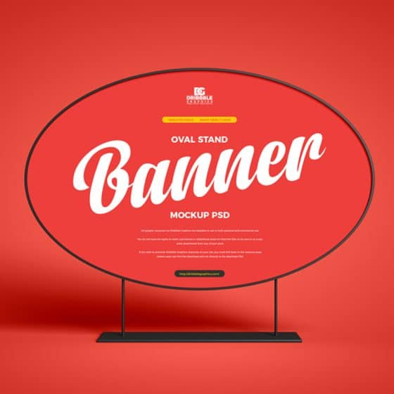 Free Oval Stand Banner Mockup