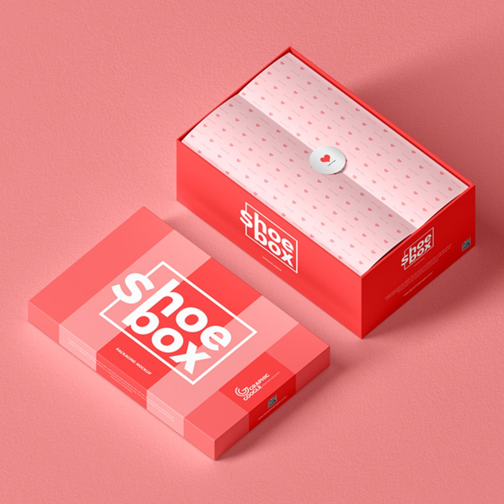 Free Shoe Box Packaging Mockup