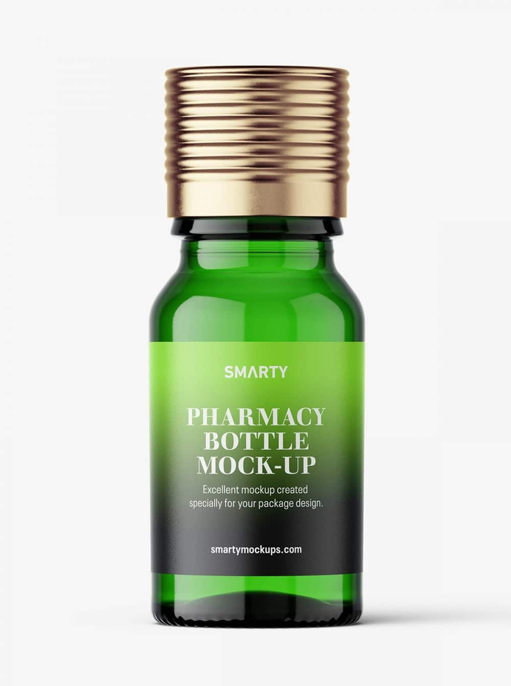 Green Pharmaceutical Bottle With Silver Cap