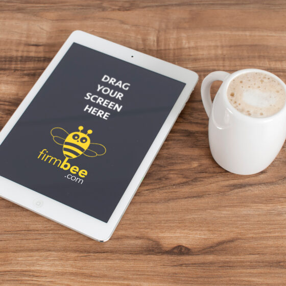 iPad Tablet With Cup Of Coffee Mockup PSD
